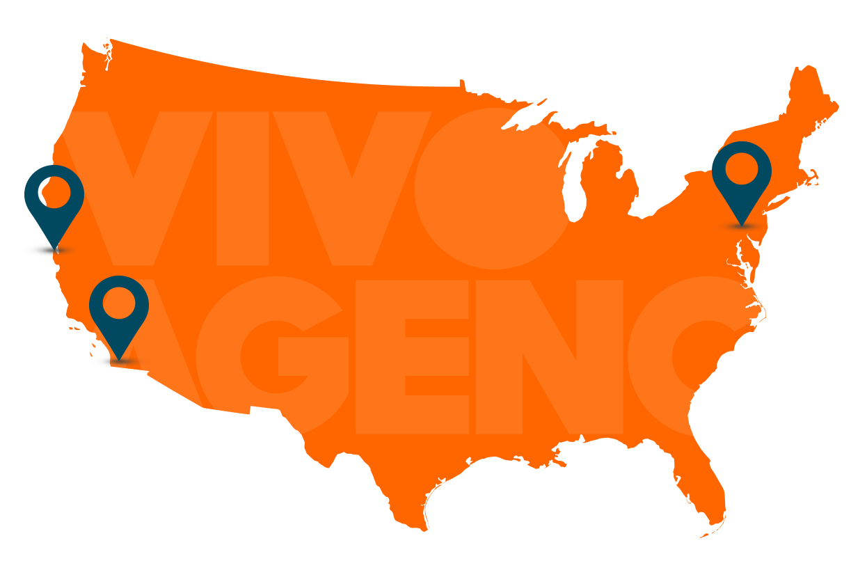 Map of VIVO locations: Philadelphia, San Francisco, San Diego